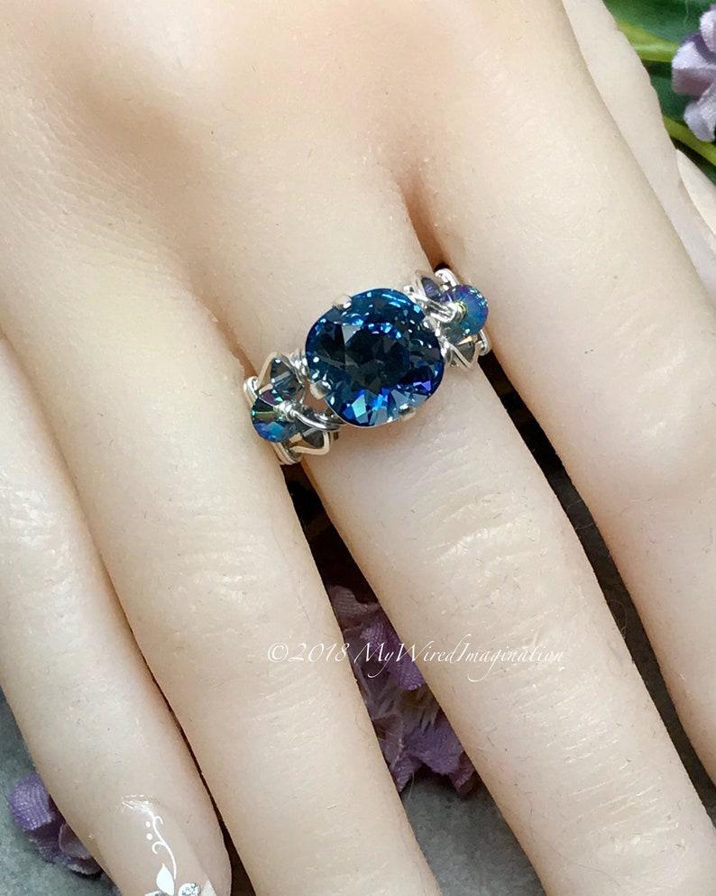 Denim Blue Swarovski Crystal Handmade Crystal Ring Unique image 0