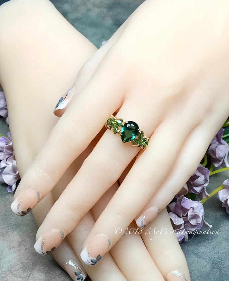Emerald Green Quartz Dark Emerald Green Handmade Ring image 0
