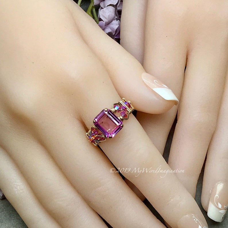 Pink Sapphire Handmade Ring with Blue Pearl or Pink Crystal image 0