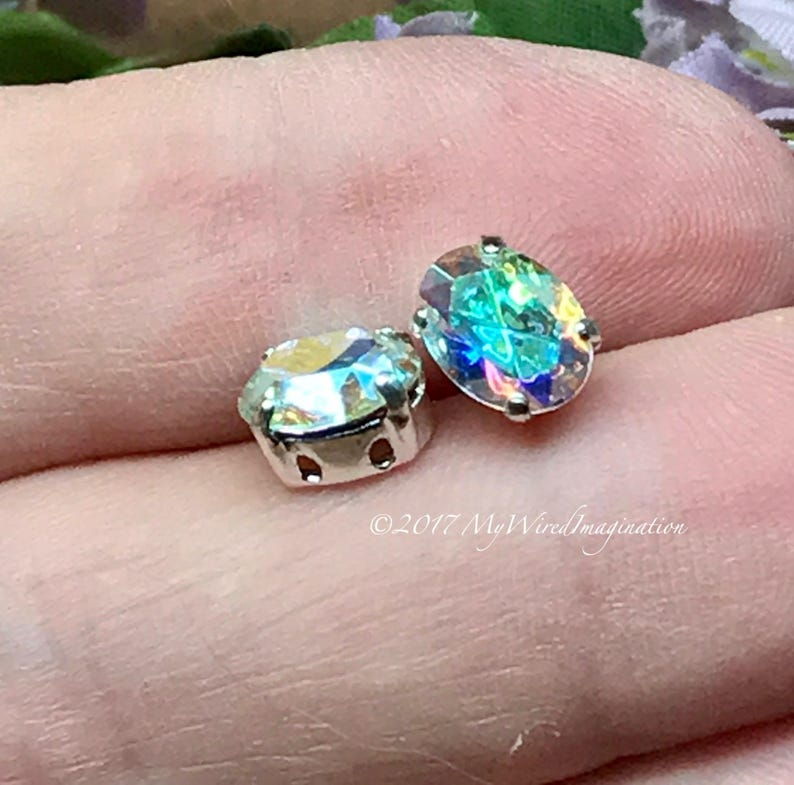 Swarovski Crystal AB 2 Pcs 8x6mm Oval Silver or Gold Plated Silver Plated