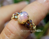 Pink Opal Ring, Dainty Pi...