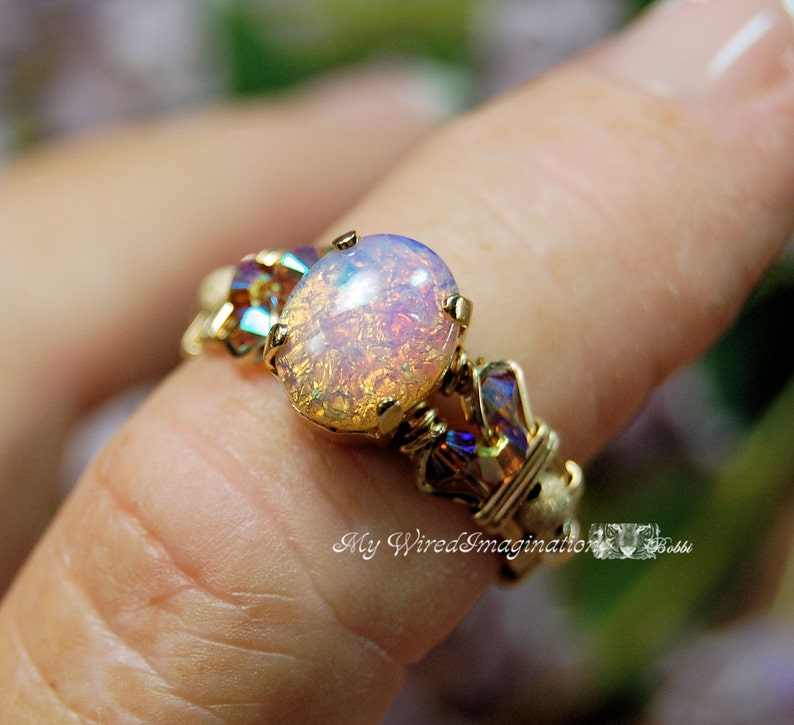 Dainty Pink Opal Ring Vintage West German Glass Stone image 0