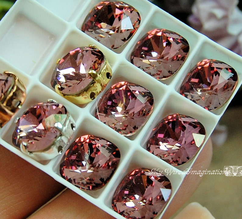 Antique PinkSwarovski Crystal 10mm 4470 Square With Prong image 0