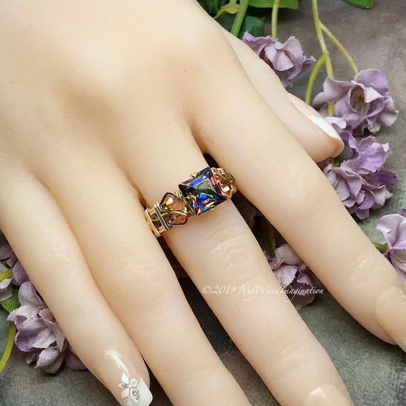 Square Vitrail Medium Vintage Crystal Handmade Ring Dark image 0