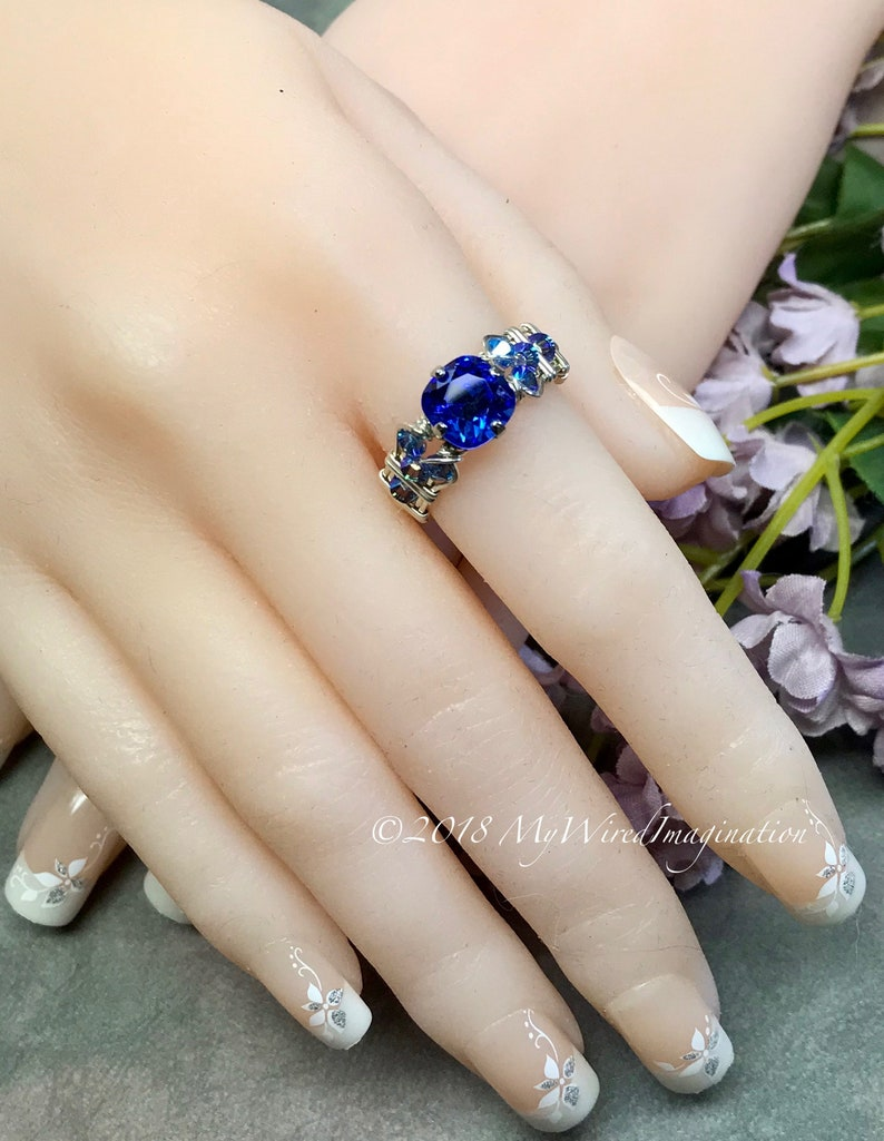 LAST ONE Sapphire Blue Vintage Swarovski Crystal Handmade image 0