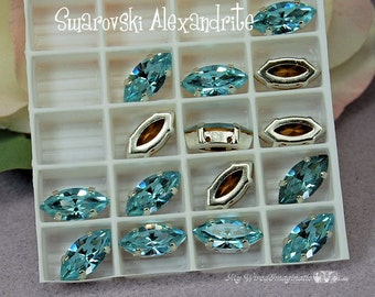 Alexandrite Color Change Crystal, Vintage Swarovski, 15x7mm Navette, Art 4200 with Setting, June Birthstone, Bead Embroidery Component