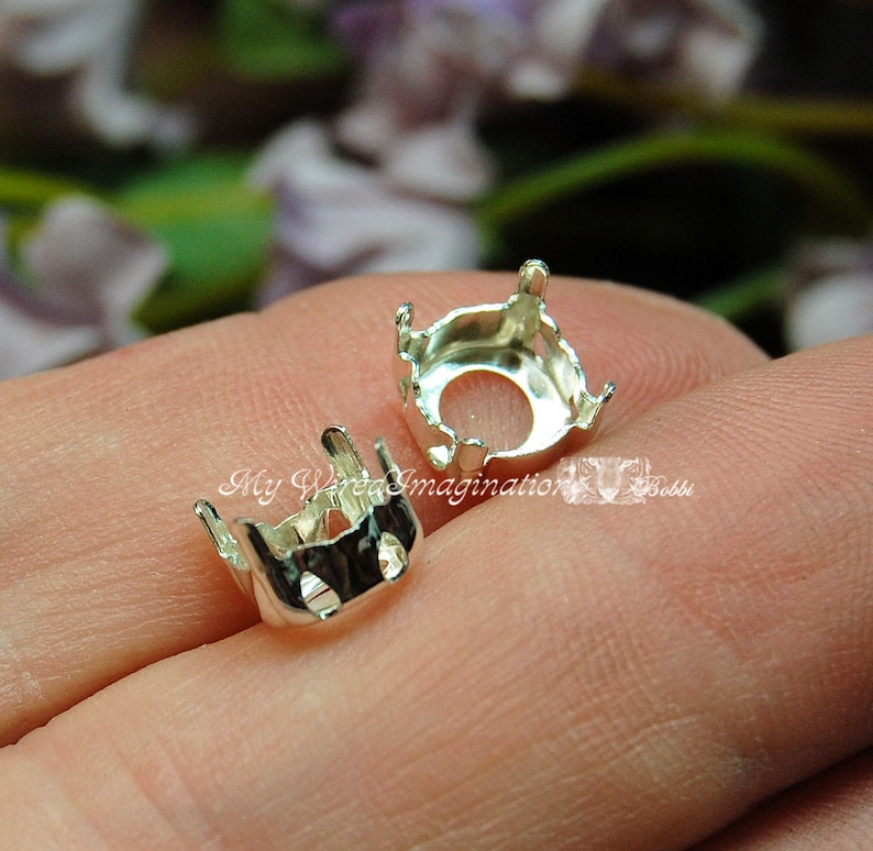 SOLID Sterling Silver Setting 925 Sew On Setting for image 0