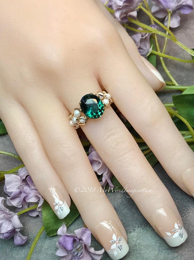 Green Quartz & Pearl Ring Dark Emerald Green Handmade Ring image 0