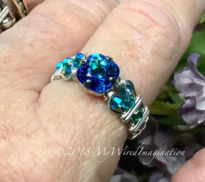 bcbd1756c2267 Bermuda Blue, Vintage Swarovski Crystal Handmade Ring, Unique Engagement  Anniversary Birthday Gift