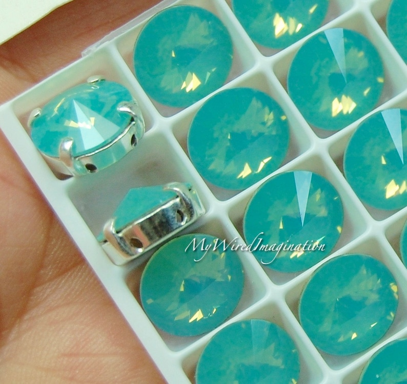 Pacific Opal Swarovski Crystal 10mm Rivoli Sew On Crystal image 0