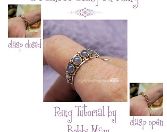 Montee Ring With a Clasp Pattern, Wire Wrap Ring Pattern, DIY Ring Pattern, Clasp Ring Wire Wrap Instructions