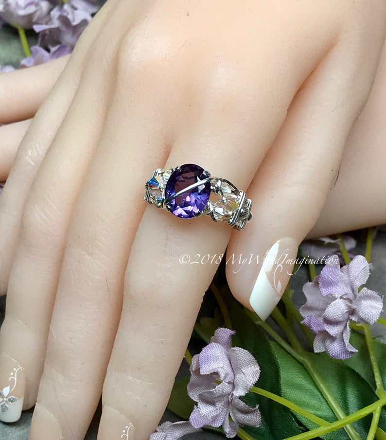 Alexandrite and Crystal Ring Lab Created Color Change image 0