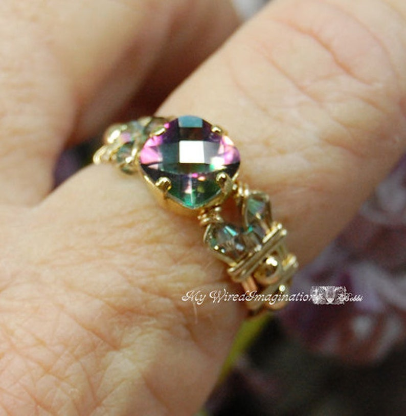 Rainbow Mystic Topaz Handmade Ring Checkerboard Faceted Cut image 0