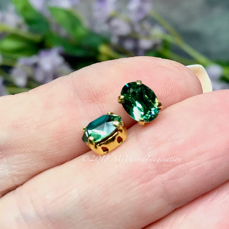 2 Pcs Swarovski Erinite 8x6mm Oval Silver or Gold Plated image 0