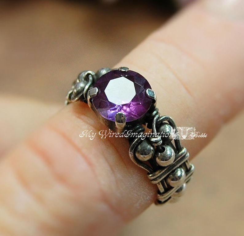 Alexandrite Solid Sterling Silver Handmade Ring June image 0