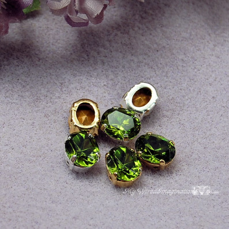 Olivine Green Vintage Swarovski 10 x 8mm Oval With Prong image 0