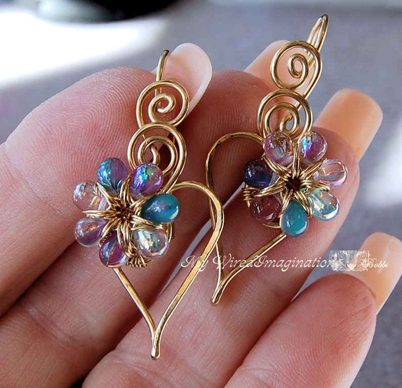 Wire Jewelry Tutorial  Charming Hearts 2 Earrings  PDF image 0