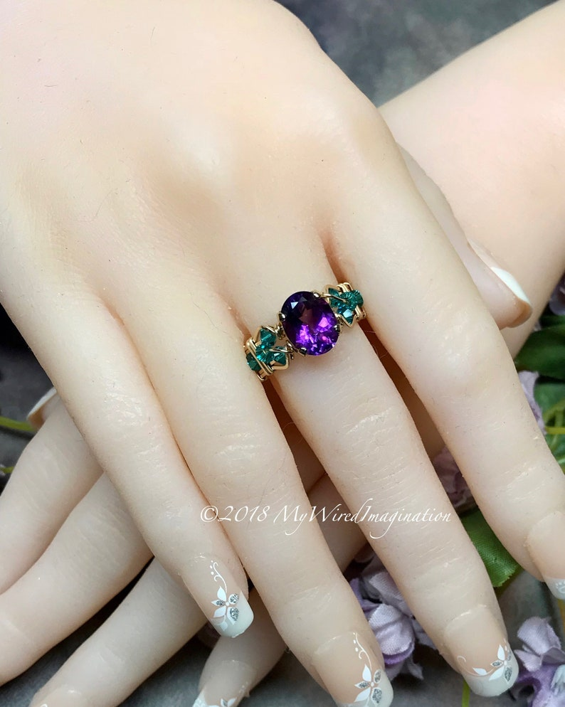 AAA Moroccan Amethyst Handmade Ring Dark Purple Unique image 0