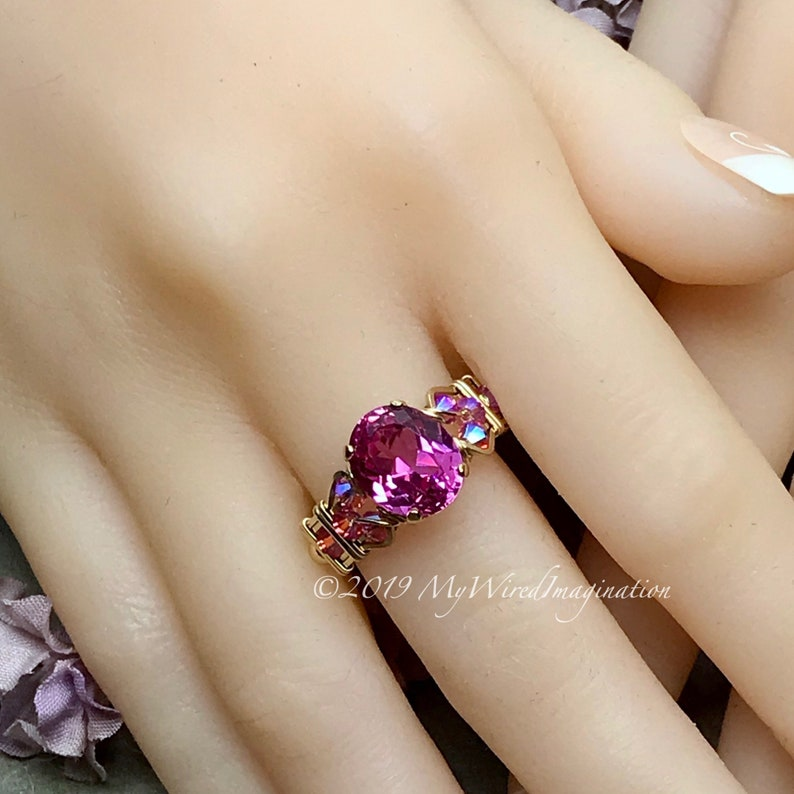 Hot Pink Sapphire Handmade Ring with Blue Pearl or Rose Pink image 0