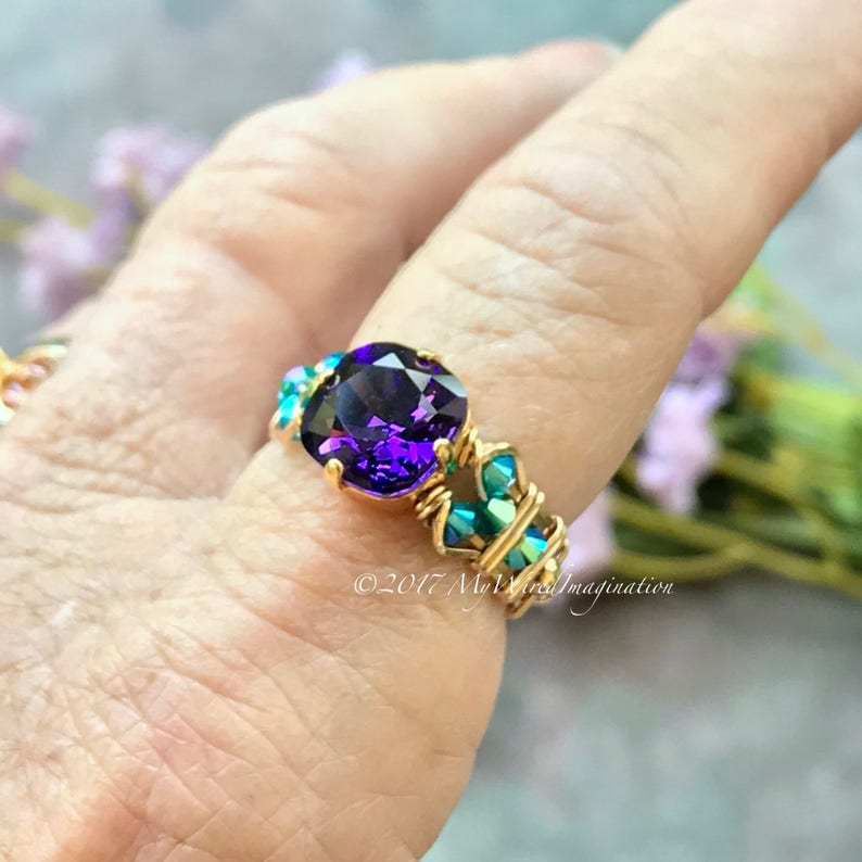 Purple Velvet & Blue Zircon Swarovski Crystal Handmade Ring image 0