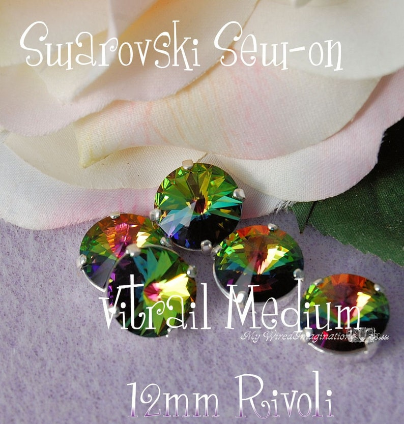 Vitrail Medium Rivoli Swarovski Crystal 12mm 1122 With Prong image 0