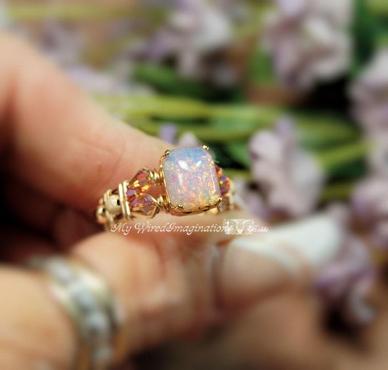 Pink Opal Ring Vintage West German Octagon Pink Opal Glass image 0