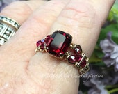 Ruby Red Octagon, Vintage...