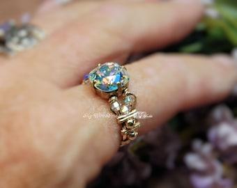 Swarovski Crystal AB, Mirror Finish Crystal Handmade Ring, Unique Engagement, Brilliant as a Diamond