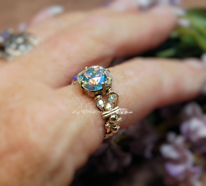 Swarovski Crystal AB Mirror Finish Crystal Handmade Ring image 0