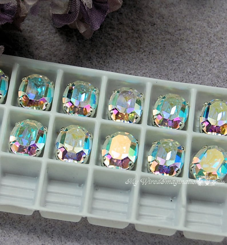 Swarovski Crystal AB 2 pcs Vintage Crystal in Sew On Setting image 0
