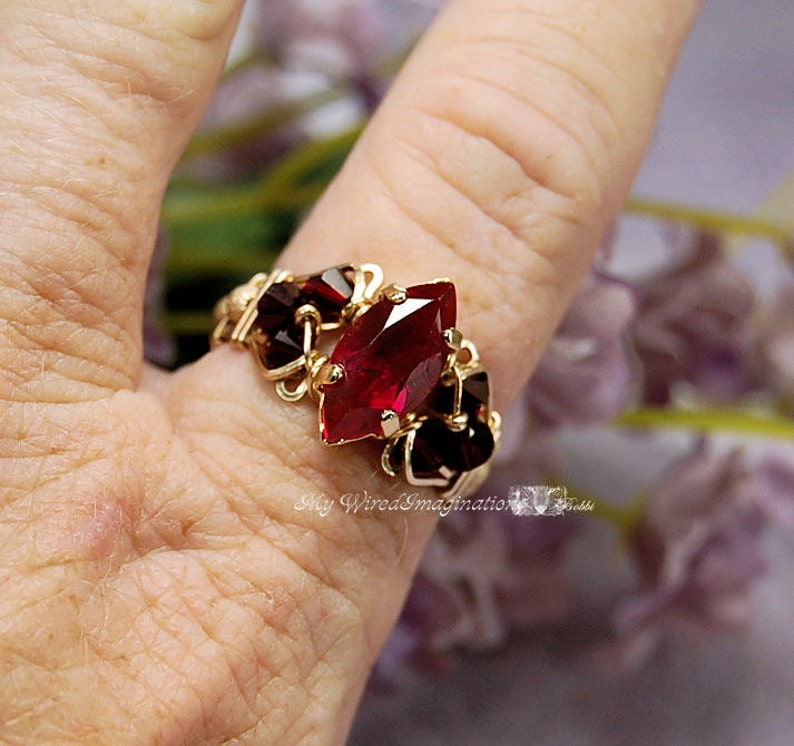 Siam Ruby Red Navette-Marquise Handmade Ring Dark and Dreamy image 0