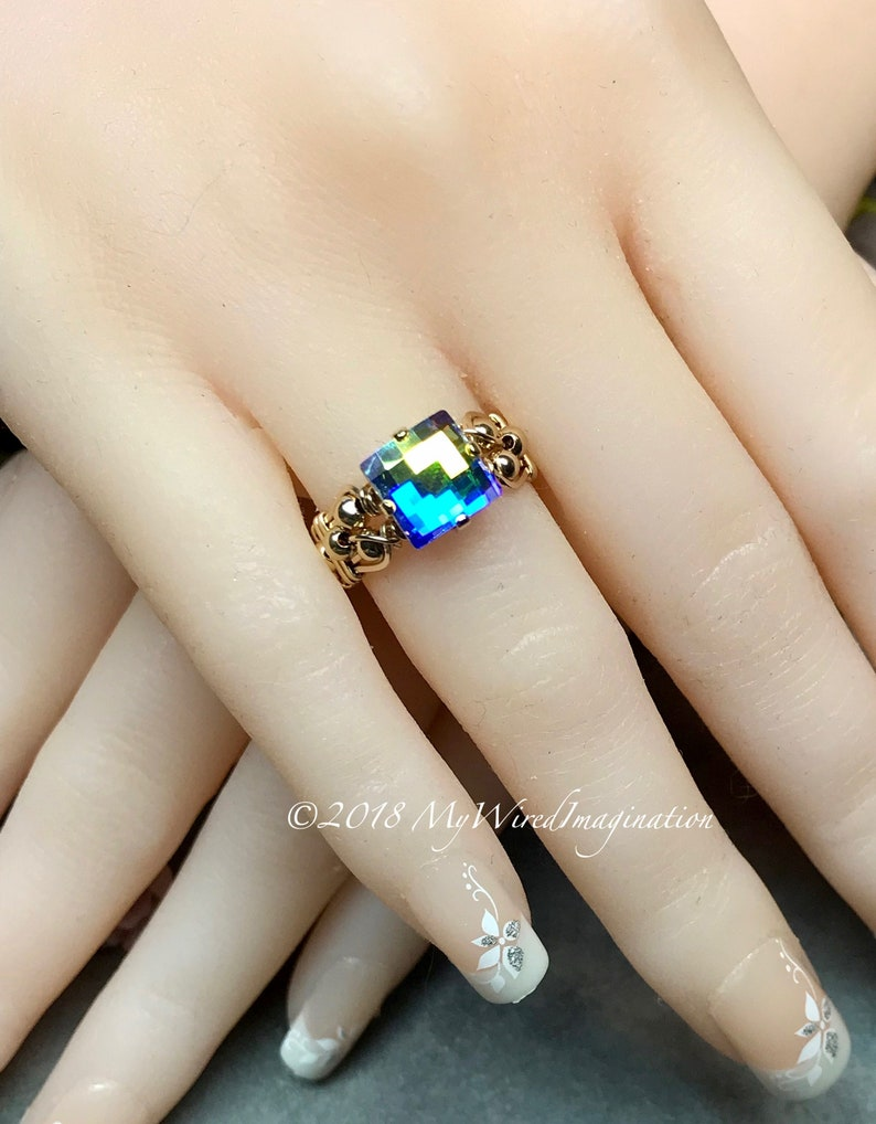 Swarovski Checkerboard Cut Crystal AB Handmade Ring Vintage image 0