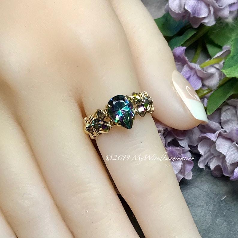 Rainbow Mystic Topaz Pear Shape Mystic Topaz Handmade Ring 14K GF