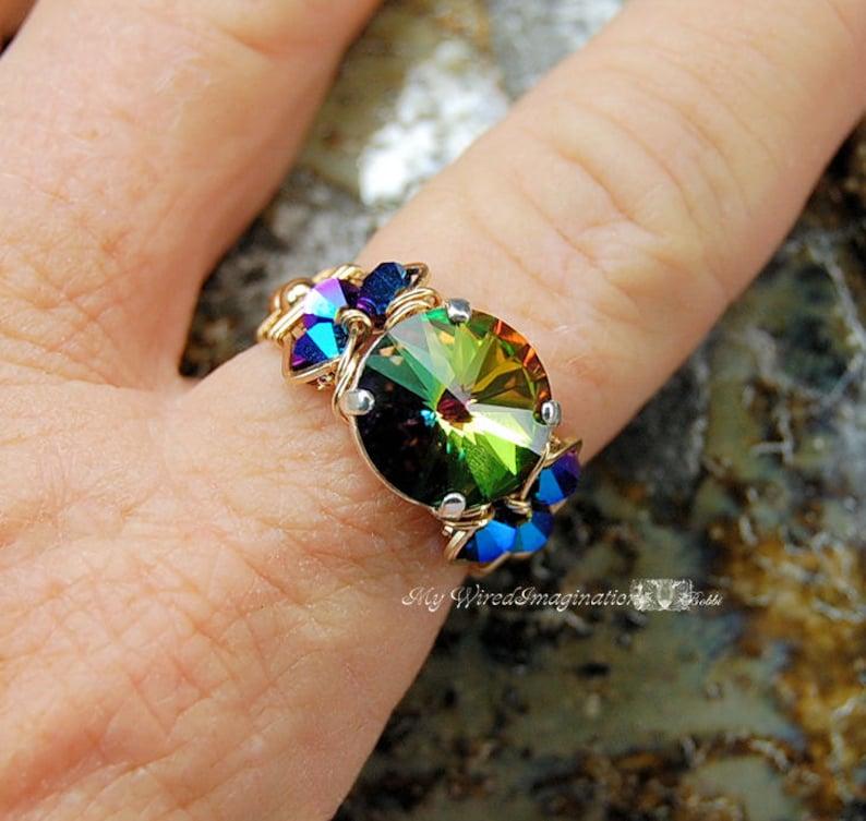 Vitrail Medium Swarovski Crystal Handmade Ring Swarovski image 0