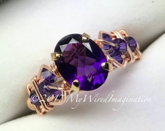 AAA Royal Amethyst Handmade Ring, Dark Purple, Ultra-Violet Purple, Unique Engagement Ring, February Birthstone