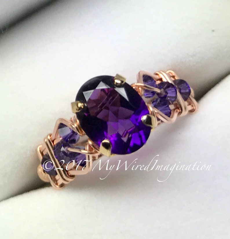 AAA Royal Amethyst Handmade Ring Dark Purple Ultra-Violet image 0