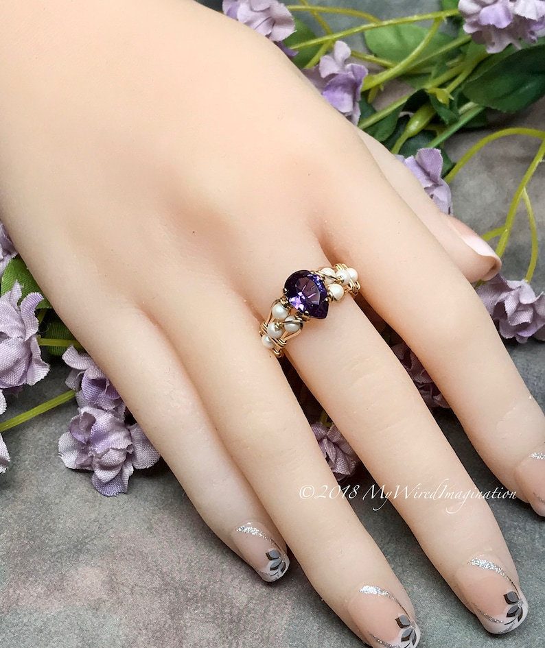 Alexandrite and Pearl Handmade Ring Lab Alexandrite & 14K Gold Fill