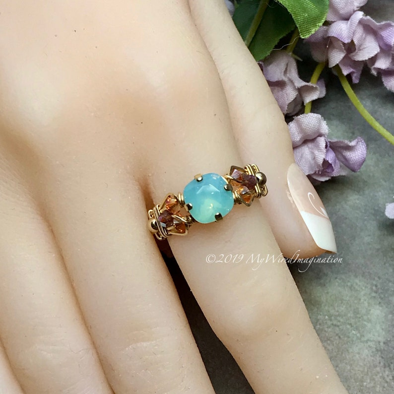 Pacific Opal Genuine Swarovski Crystal Handmade Ring Pale image 0