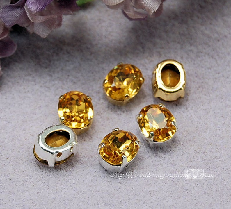 Topaz Yellow Vintage Swarovski Crystal 10 x 8mm 1 Pc Topaze image 0