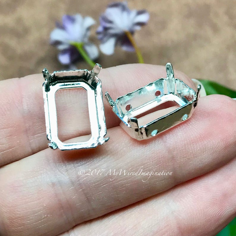 18x13mm Octagon Settings Art 4600  2 Pieces Silver or Gold image 0