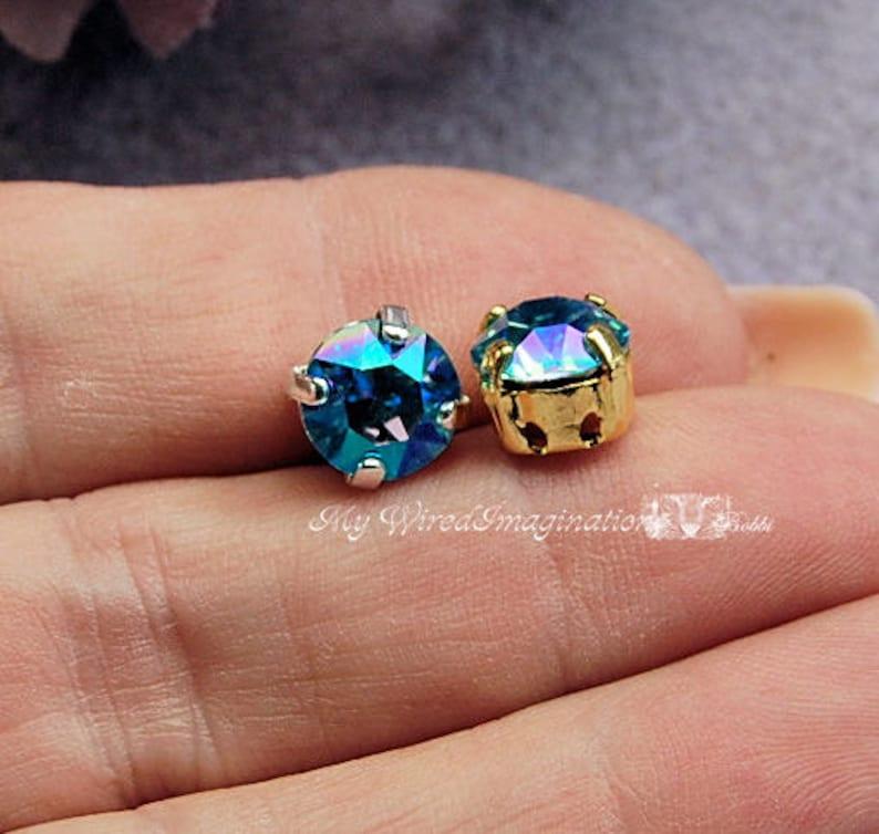 Aqua Shimmer 2 Pcs Swarovski Crystal  39ss 8mm Xirus Chaton image 0