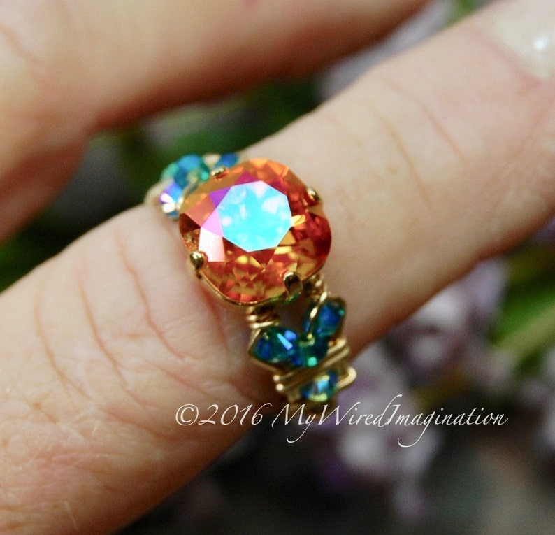Fiery Astral Pink Swarovski Crystal Handmade Ring Astral image 0