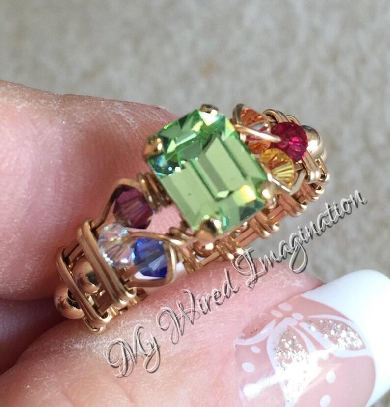 Crystal Chakra Ring Vintage Swarovski Chrysolite 7 Chakra image 0