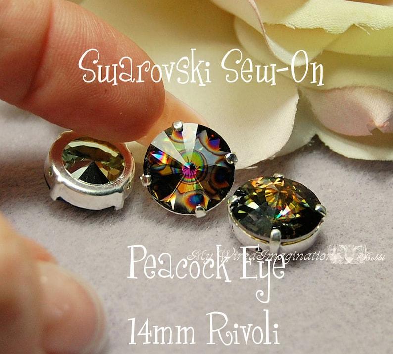 Peacock Eye Rivoli 1122 Sew On Swarovski Crystal 14mm With image 0