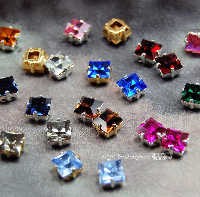 2 Pcs Vintage Swarovski Crystal or CZ 6mm Square Rhinestone 30 image 0
