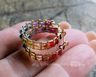 Crystal Hoop Earrings Tutorial, Wire Jewelry Tutorial, How To Wire Wrap Earrings, Wire Wrap Pattern, Instructions