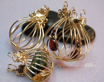 Tutorial For Wire Wrap Pendants, 2 Hinged Cages and a Locket, Instant Download PDF File, Jewelry Making Instructions, Step by Step Learning