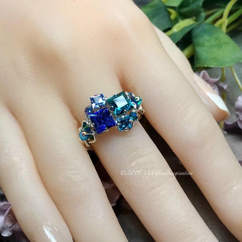 Handmade Ring in Swarovski Crystal Blues Multi-Stone Ring image 0