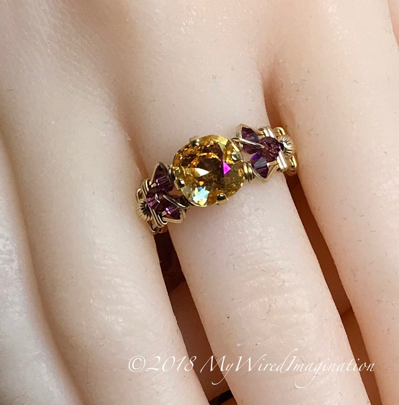 Swarovski Crystal Handmade Ring Amber Blush and Amethyst image 0