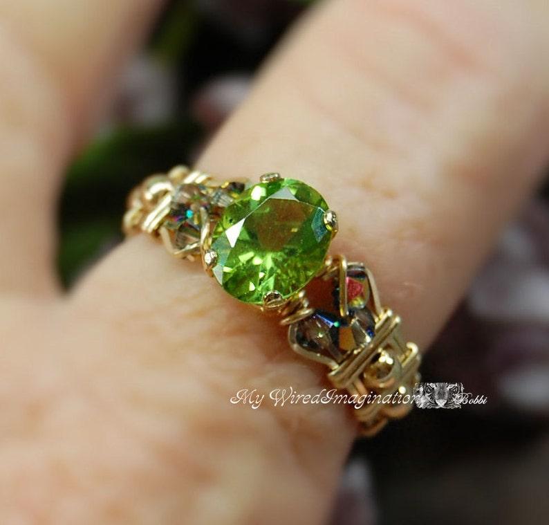 Genuine Peridot Handmade Ring Signature Design August image 0